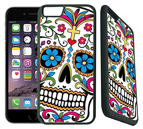 ([TeleSkins] - Sugar Skull Dia De los Muertos - Protective Plastic Case For iPhone 6 Plus / 6S Plus Case - Ultra Durable Slim Fit, Plastic with Soft RUBBER TPU Snap On Back Case / Cover for Girls)