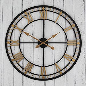 Wall Art Large Round Wall Clock Bronze And Gold Amazoncouk