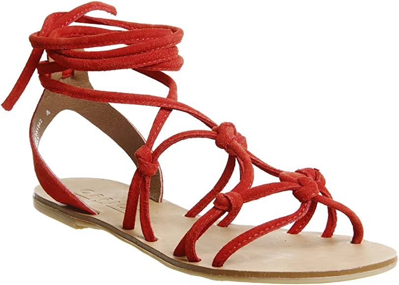Secret- Knotted Tie Up Sandal Red Suede
