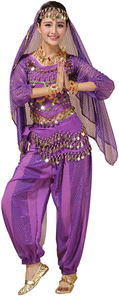 Goyajun Ladies Belly Dance Outfits Set Bollywood Indian Arabian Carnival Dancing Performance Sequined Costume
