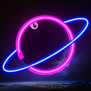 Ifreelife Planet Neon Signs LED Night Light Neon Lights USB Charging/Battery Operated Neon Wall Lights Neon Decorative Lights for Home Bedroom Bar/Christmas/Wedding/Birthday Party