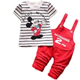 Bold N Elegant Mickey Mouse Cute Cartoon Dungaree Baby Boy Girl Clothing Jumpsuit Half Sleeve T-Shirt with Dungaree for 0-2 Year Kids