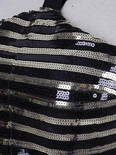 Muster Anna S Halter und Kaci Gold Schwarz Dress Pailletten mit horizontalen Fit Streifen M UUWPSwAq