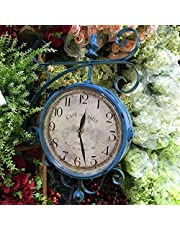 Antique Outdoor Garden Wall Clock, 9inch Waterproof Garden Double Sided Wall Clocks for Garage, Patio, Backyard, Outdoor Wall, Fence Vintage Antique Aged Bronze