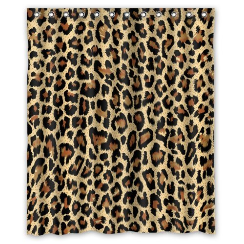 Amazon Modern Fashion Sexy Leopard Print Shower Curtain New Waterproof Polyester Fabric60x72