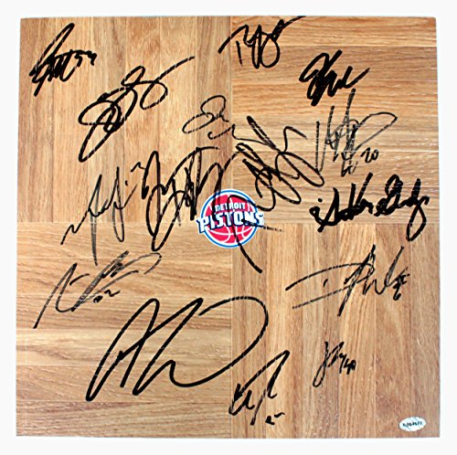 (Detroit Pistons 2015-16 Team Signed Autographed Signed Basketball Floorboard Drummond Jackson)