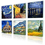 """Alonline Art - Starry Night Cafe Church Alpes Vincent Van Gogh PRINT On CANVAS (Synthetic, UNFRAMED Unmounted) 16""""x16"""" - 41x41cm Set of 6 Lot Wall Art Pictures Oil Paint Oil Painting Print Oil Paints"""