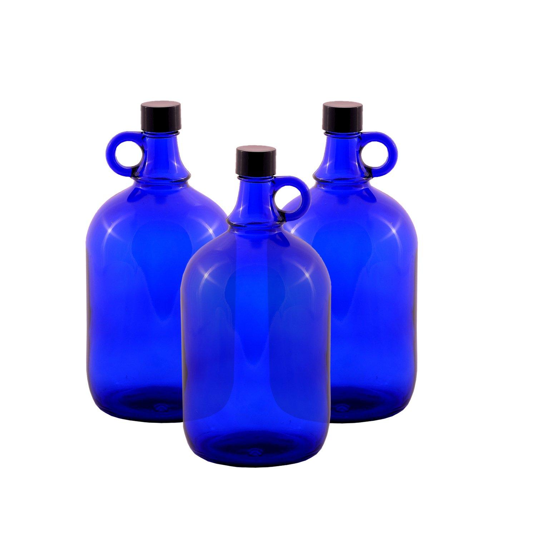 Botella de Cristal del globo Galón Azul 2 Liter o 5 Cierre roscado Plástico negro - Ficha henk once azul, ideal para Aquadea - Clavija Agua, ...