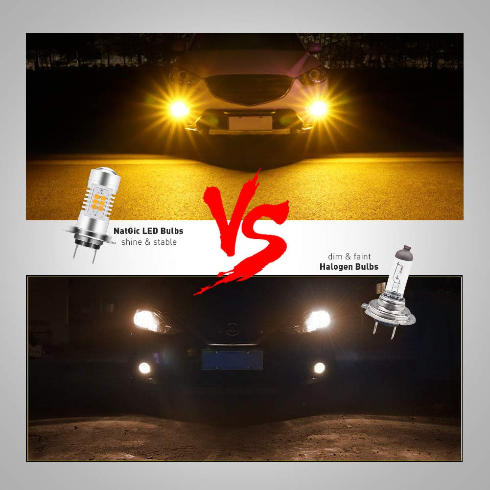 NATGIC H10 9140 9145 LED Bulbs 21-EX 2835 SMD Chipsets with Lens Projector for Fog Lights Daytime Running Lights 10.5W Xenon White Pack of 2 DC 10-16V Automotive Driving Lamps