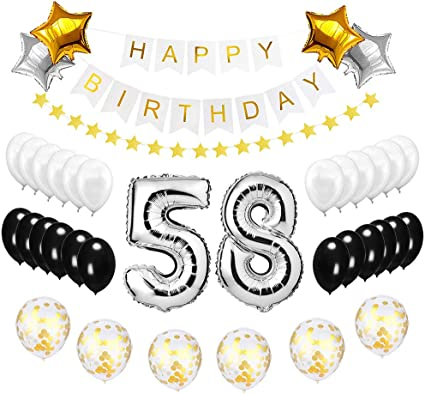 58TH BIRTHDAY STAR BALLOON 18 INCH MYLAR BIRTHDAY PARTY SUPPLIES