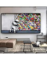 Street Art Banksy Graffiti Wall Art Behind The Curtain Canvas Paintings Wall Art Pictures for Home Decor Painting