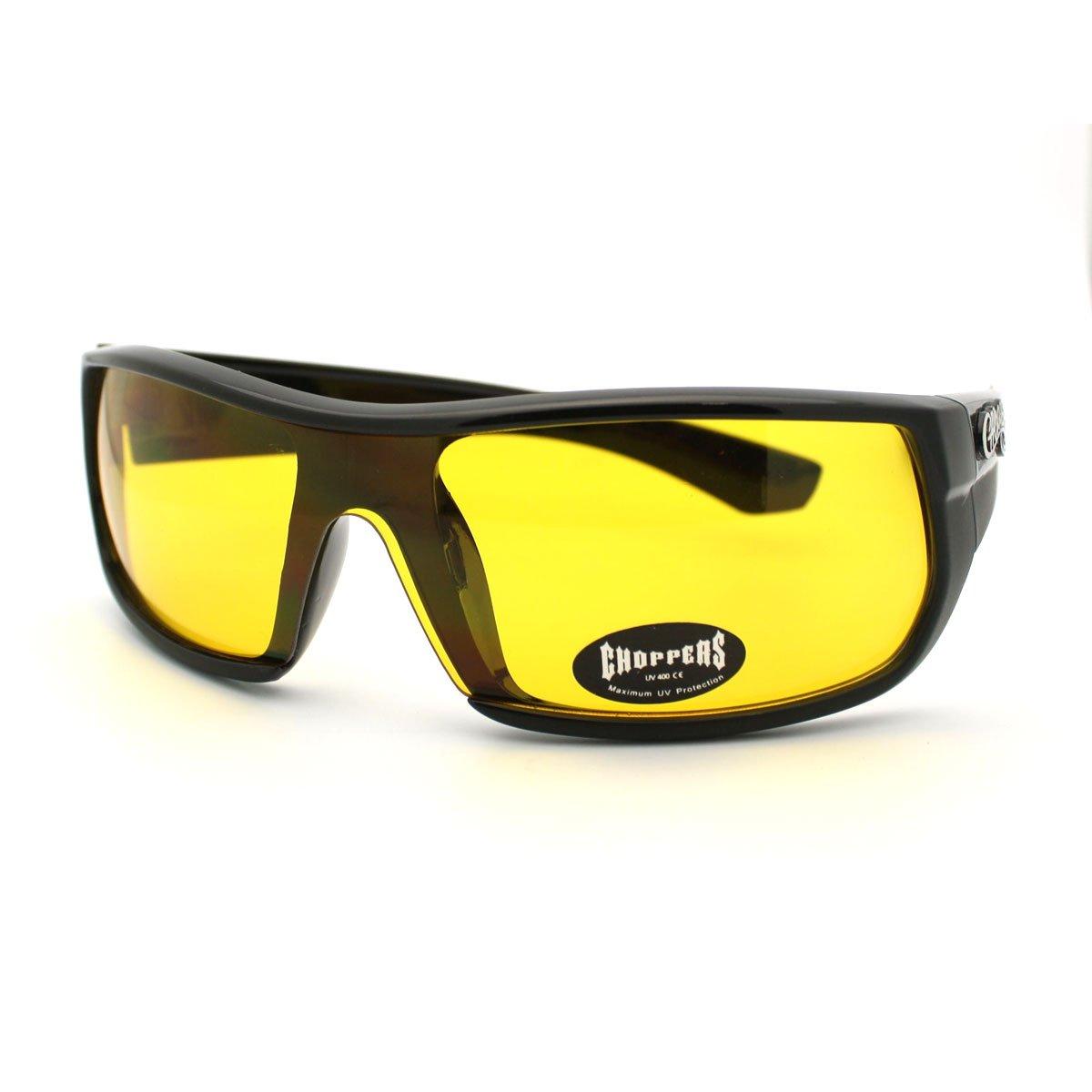 Mens Choppers Sunglasses Sporty Biker Style Rectangular Shield Wrap Frames
