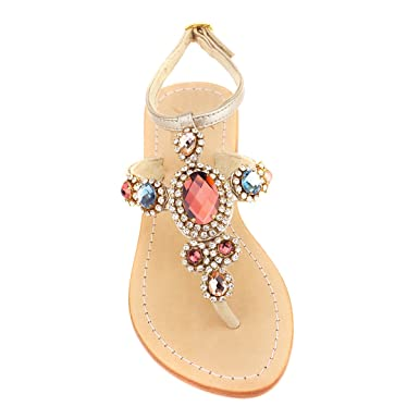 17bf5730b6484 Amazon.com  Pasha Rainbow Gemstone  Corinth  Leather Sandals  Clothing