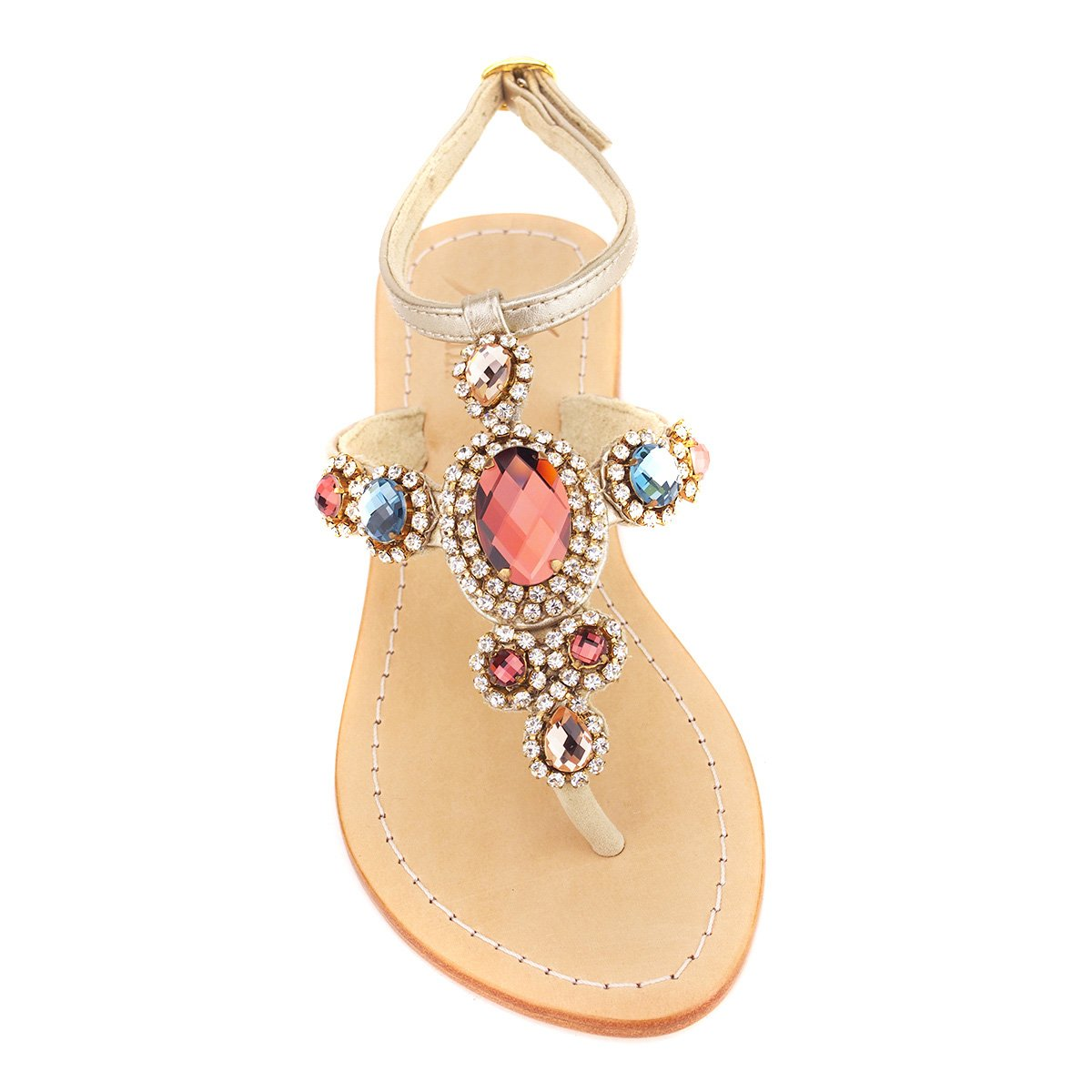 Rainbow Gemstone 'Corinth' Leather Sandals (38, Dark Multi / Gold)