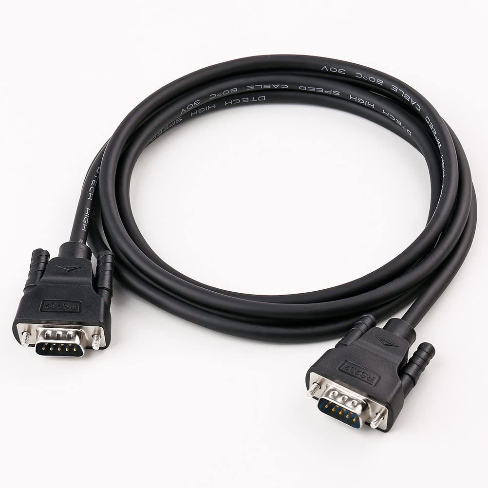 DTECH DB9 RS232 Serial Cable Male to Female Extension Null Modem Cord Cross TX//RX line for Data Communication 10 Feet, Black