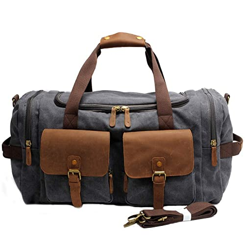 a930a00f02 Duffle Bag Weekend Travel Bag Overnight Bags for Womens and Mens Leather  Canvas Messenger Shoulder Tote