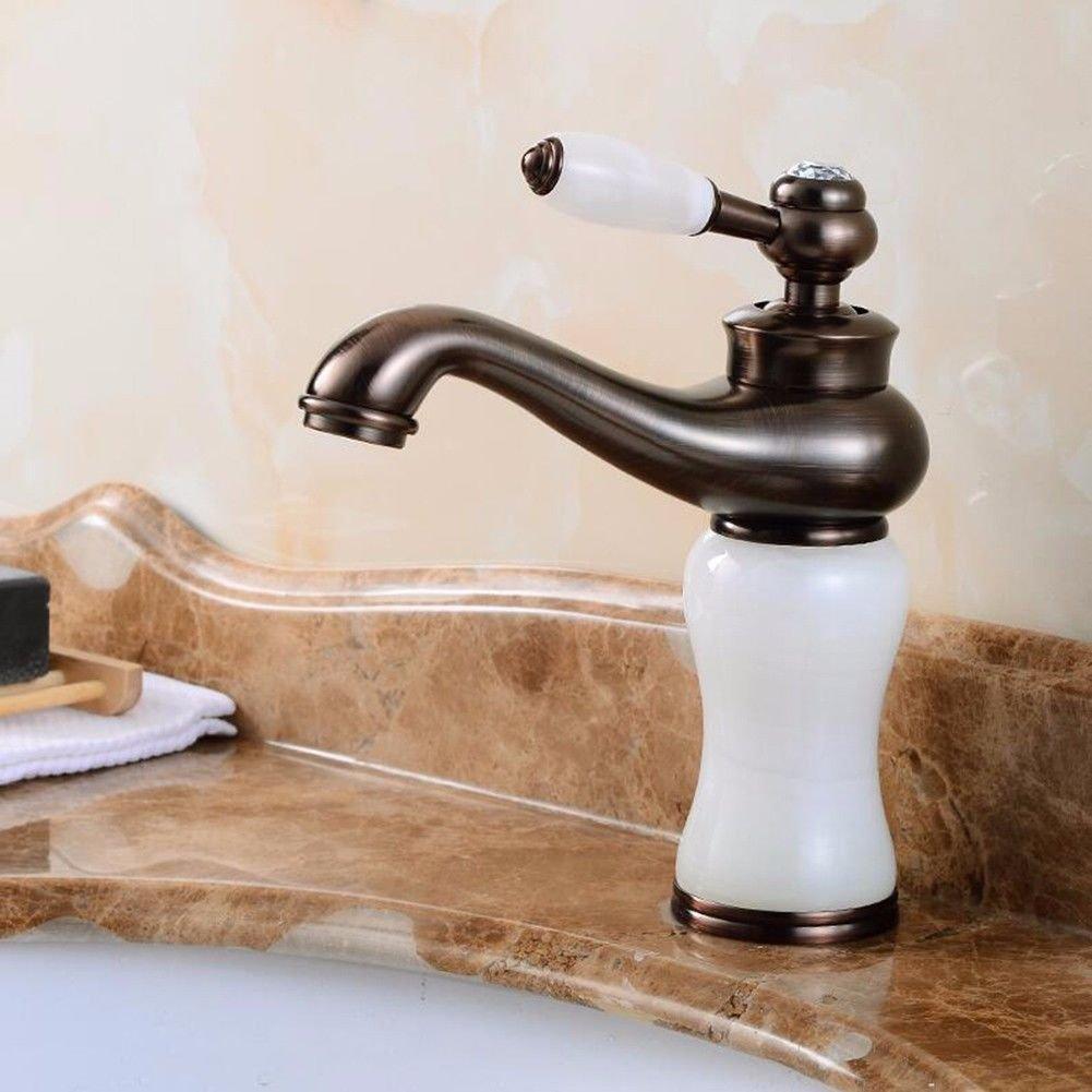 D Hlluya Professional Sink Mixer Tap Kitchen Faucet Black antique taps plus high-copper hot and cold basin mixer antique table basin taps, Black