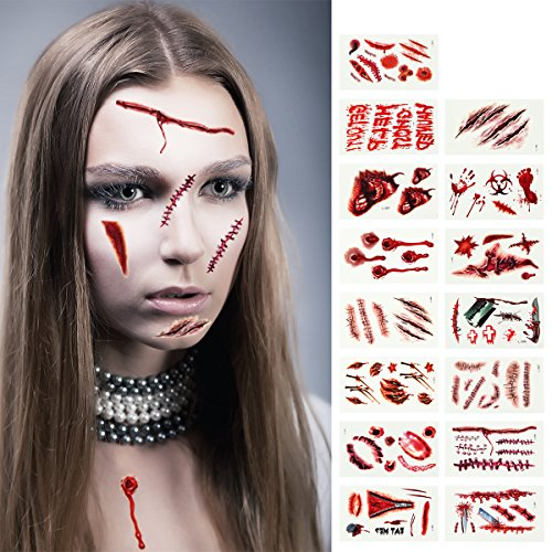 Madholly 15 Sheets Halloween Temporary Tattoos, Bleeding Wound Body Scar Horror Tattoo Stickers for Halloween Trick,Party Cosplay Costume
