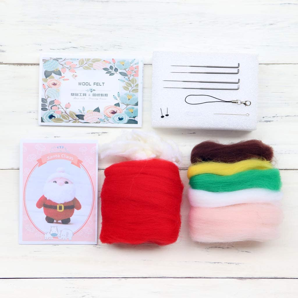 Santa Claus with Gift Box Wool Felt Craft DIY Leidersty Felt Animals Needle Felting Kit Handcraft Kit for Needle Material Bag Pack Non Finished Poked Set