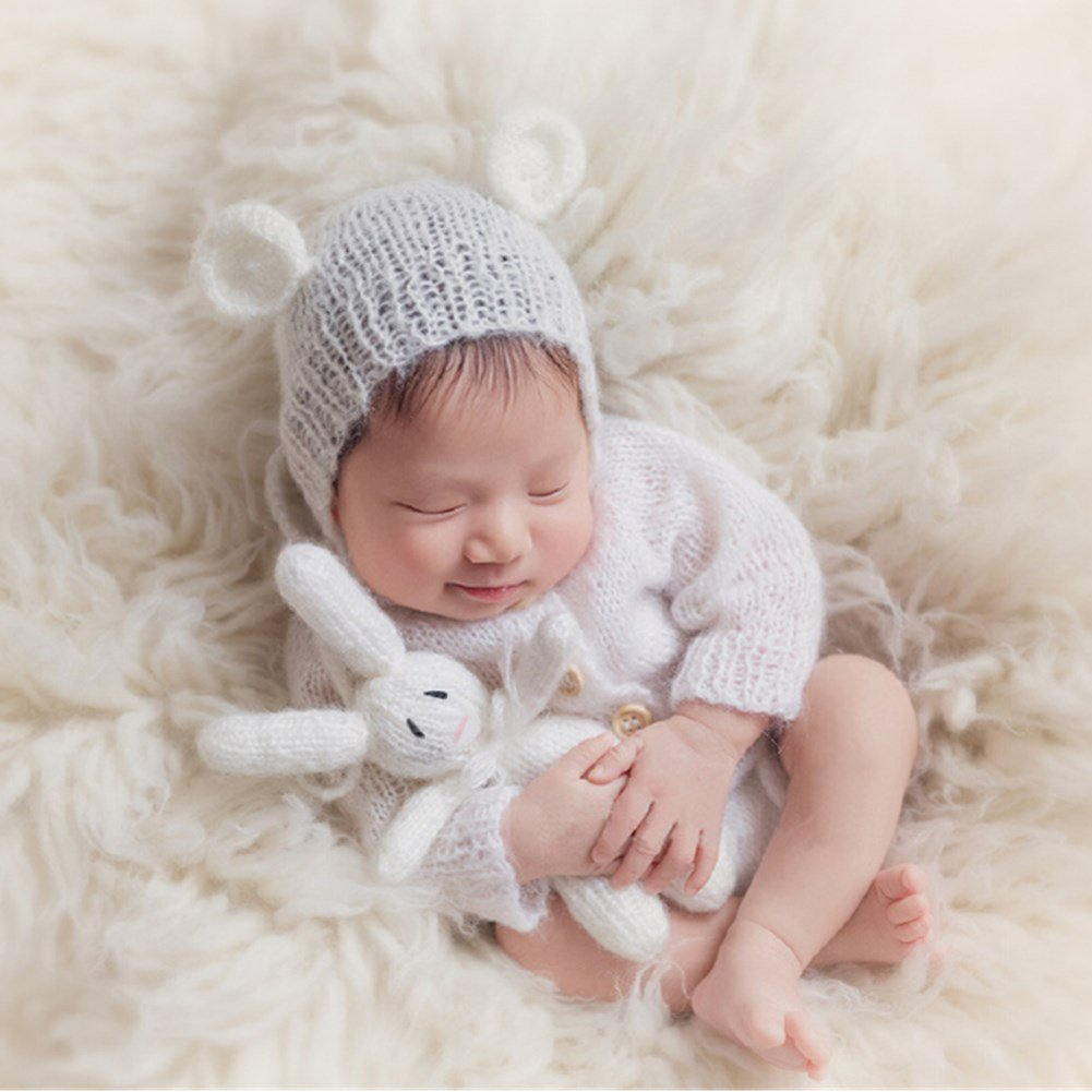 Amazon com baby photography props girl photo shoot outfits newborn crochet costume infant knitted hat rompers rabbit doll set camera photo