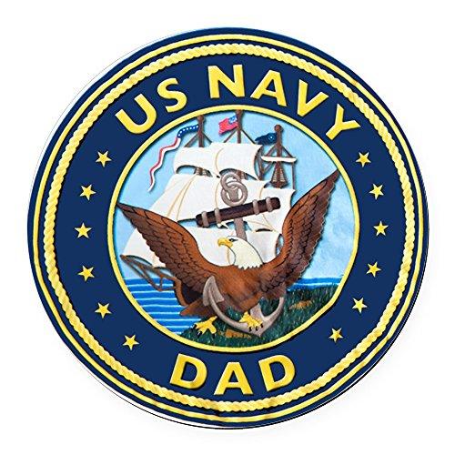 Round Car Magnet 5.5 Inch US Navy Dad Bald Eagle Anchor Ship