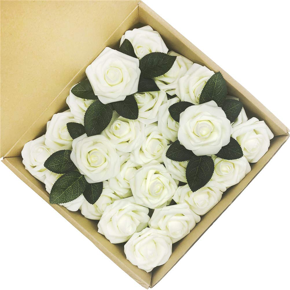 5ccm.ヤングフェイクフラワー アイボリーローズ 50個 造花 バラ DIY ウェディングブーケ センターピース アレンジメント パーティー ベビーシャワー パーティー ホームデコレーション 50pcs Standard ホワイト Flowers-001-Ivory-50 B07JV8CTYD アイボリー 50pcs Standard