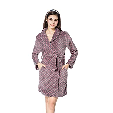 4ca103819019 Robe Luxurious Flannel Fleece Short Bath Robe Soft Bathrobe Comfy Flannel  Robe (Purple S)