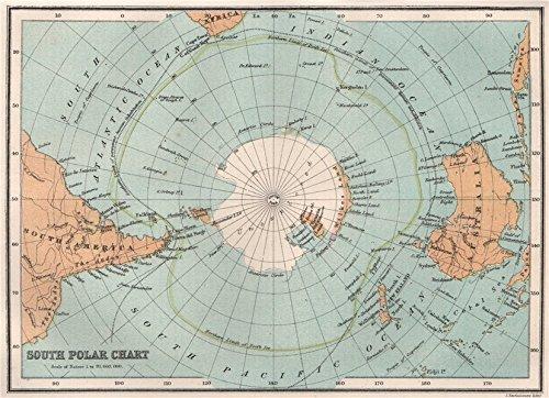 Antártida. Polo Sur. Drift límite de hielo. Wilkes Old Map ...