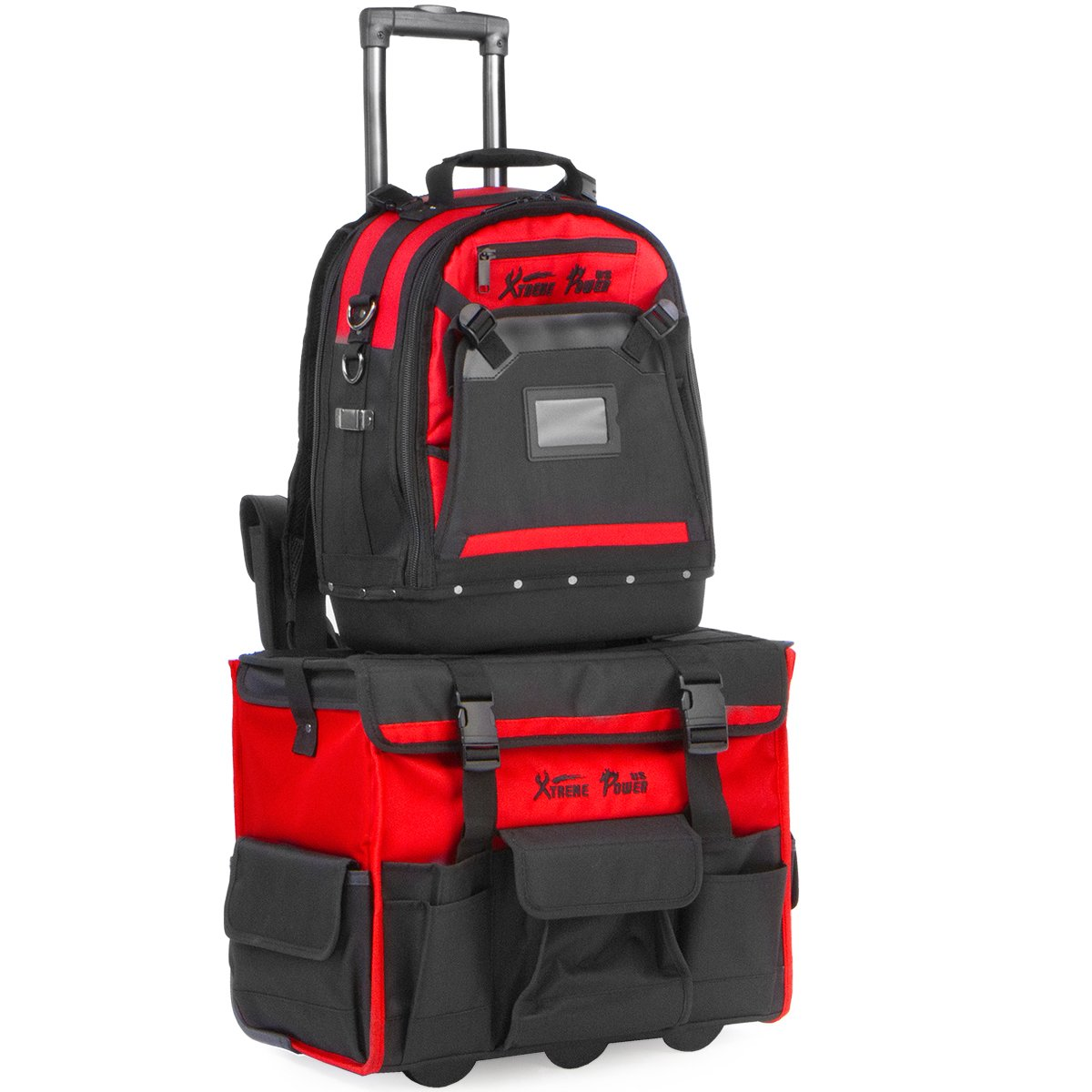 XtremepowerUS Tool Bag Organizer, Black and Red (Rolling Tool Bag+Tool Backpack)