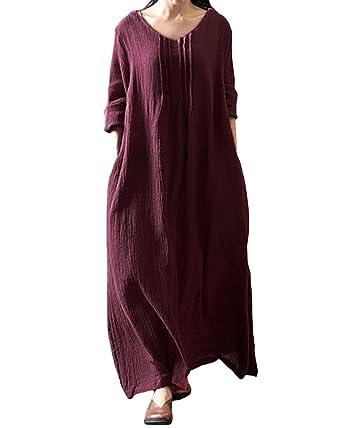 3d88e633d19 StyleDome Femme Robe Coton Longue Col Rond Manches Longues Casual Lâce  Large Tunique Robe Maxi Bordeaux