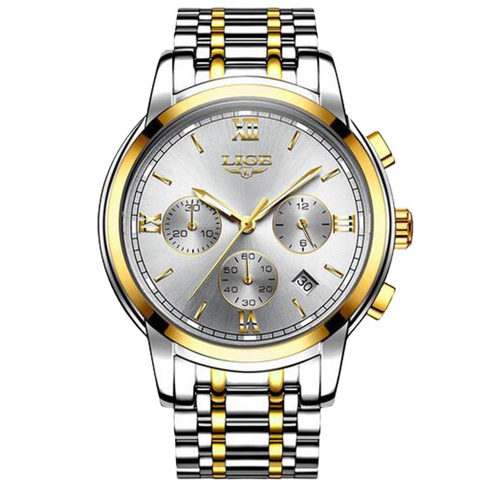 Relojes Hombre,LIGE Acero Inoxidable Impermeable Relojes analógico Fecha Moda Casual Relojes de Pulsera