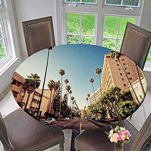 (Mikihome Luxury Round Table Cloth for Home use Urban A Street in Beverly Hills California Palm Treess Famous City Peach Green for Buffet Table, Holiday Dinner 47.5