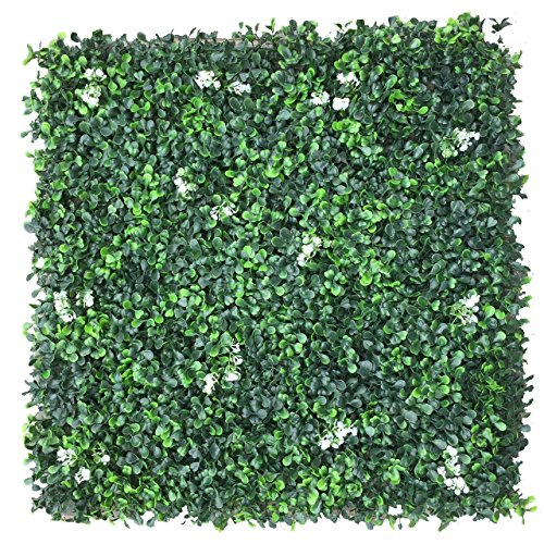 Artificial Hedge Plant Privacy Fence Screen Greenery Panels for Both Outdoor or Indoor, garden or backyard home decorations (48pack around 132 sqf) (20x20 inch Artificial Milan Flower, 48PC) (Flower Fence)