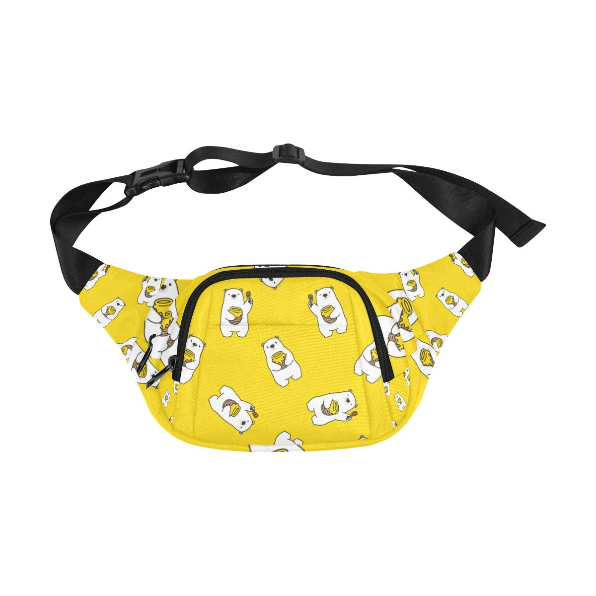 Cute Bear Eating Sweet Honey Fenny Packs Waist Bags Adjustable Belt Waterproof Nylon Travel Running Sport Vacation Party For Men Women Boys Girls Kids