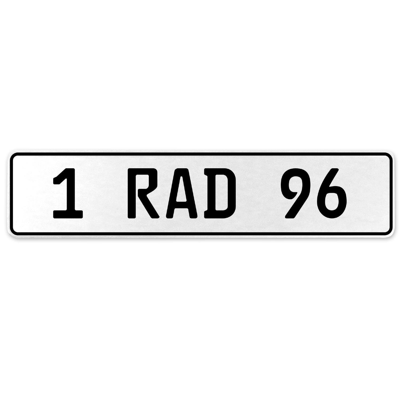 Vintage Parts 554099 1 RAD 96 White Stamped Aluminum European License Plate