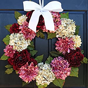 Large Valentines Day Spring Wreath for Front Door Decor; Faux Dahlias, Hydrangeas and Peonies; Burgundy Red, Cream (Off-White) & Pink; 24 Inch 34