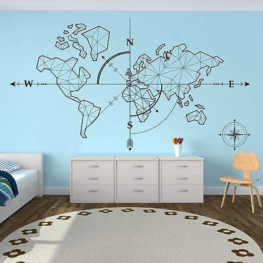 Wandtattoo Schlafzimmer Weltkarte Kompass Erde Wandaufkleber ...