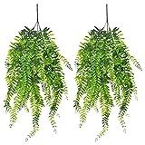 Artificial Plants Fake Hanging Vine Plastic Greenery Ivy Vines Outdoors Plant for Home Garden Indoor Outdside Hanging Basket Decor/2Pcs