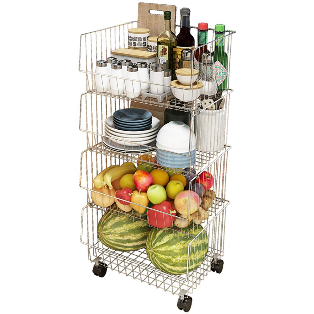 Quality Stackable 4-Layer Mobile Vegetable Rack, with Universal Wheel, High Capacity, for Storing Fruits, Vegetables, Seasoning Cans, Bowls, Silver