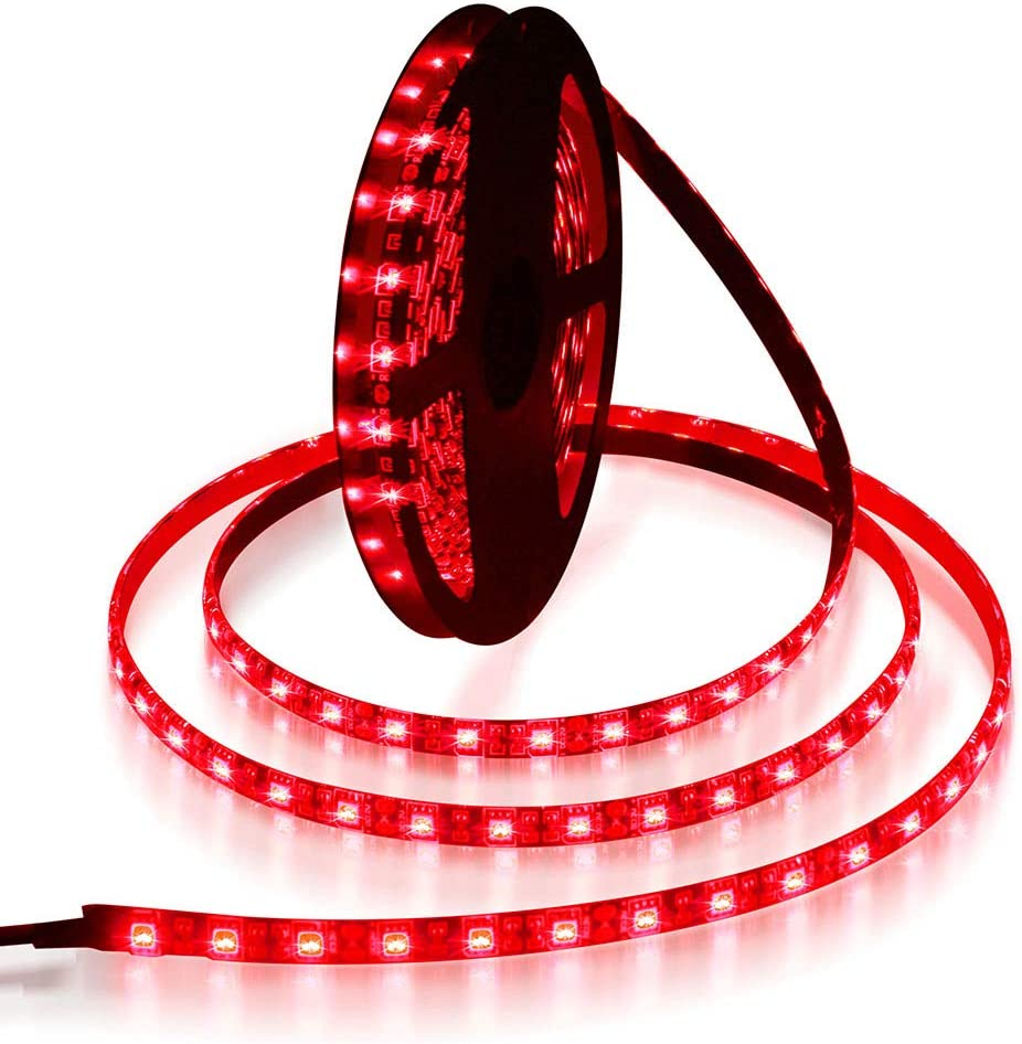 ALITOVE 16.4ft 5050 SMD Red LED Flexible Strip Ribbon Light 5M 300 LEDs Waterproof IP65 DC 12V for Home Garden Commercial Area Lighting