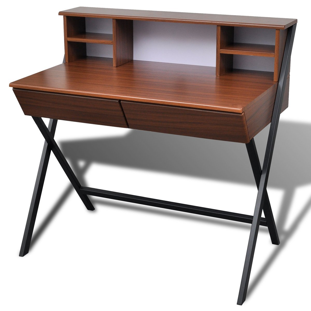 HxWxD: 76.5 x 106.5 x 55.5 cm Natural Brown Relaxdays Wooden Computer Table Keyboard Drawer Solid Office Desk