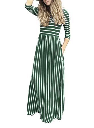 b44c40c25fd LeaLac Women Summer Fashion Cotton 3 4 Sleeve Striped Casual Loose Maxi Dresses  Elastic Waist