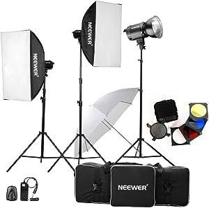 Neewer 900W(300W x 3) Professional Photography Studio Flash Strobe Light Lighting Kit for Portrait Photography,Studio and Video Shoots(MT-300AM)