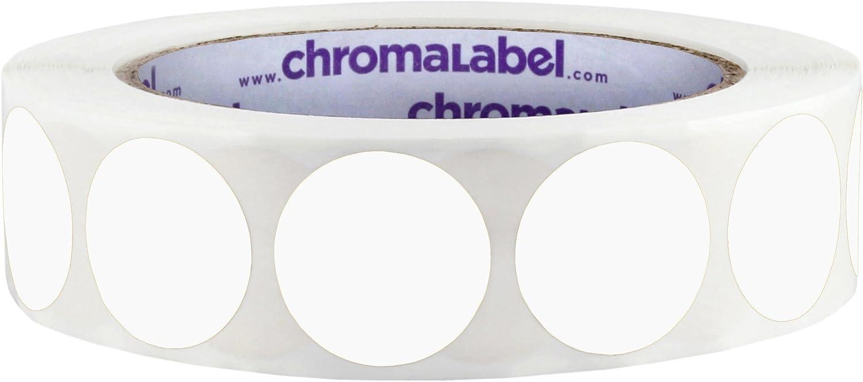 ChromaLabel 1 Inch Round Permanent Color-Code Dot Stickers, 1000 per Roll, White