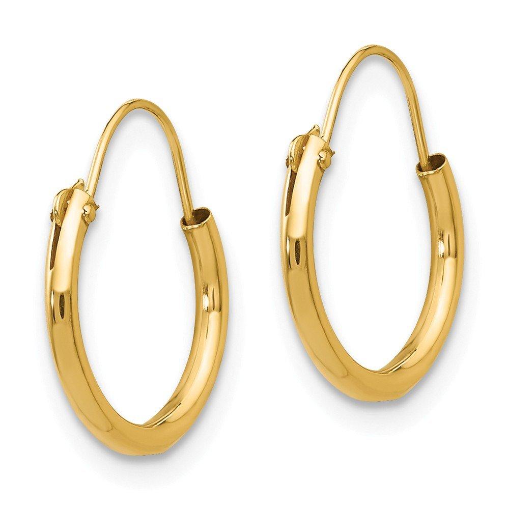 14K Yellow Gold Madi K Childrens 13 MM Endless Hoop Earrings