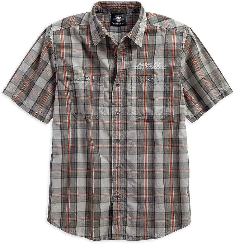 HARLEY-DAVIDSON Mens Distressed Washed Plaid Short Sleeve Shirt 96119-18VM