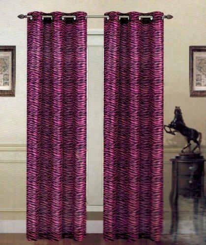 Pink Zebra Giraffe Leopard Animal Print Grommet Curtain Panels