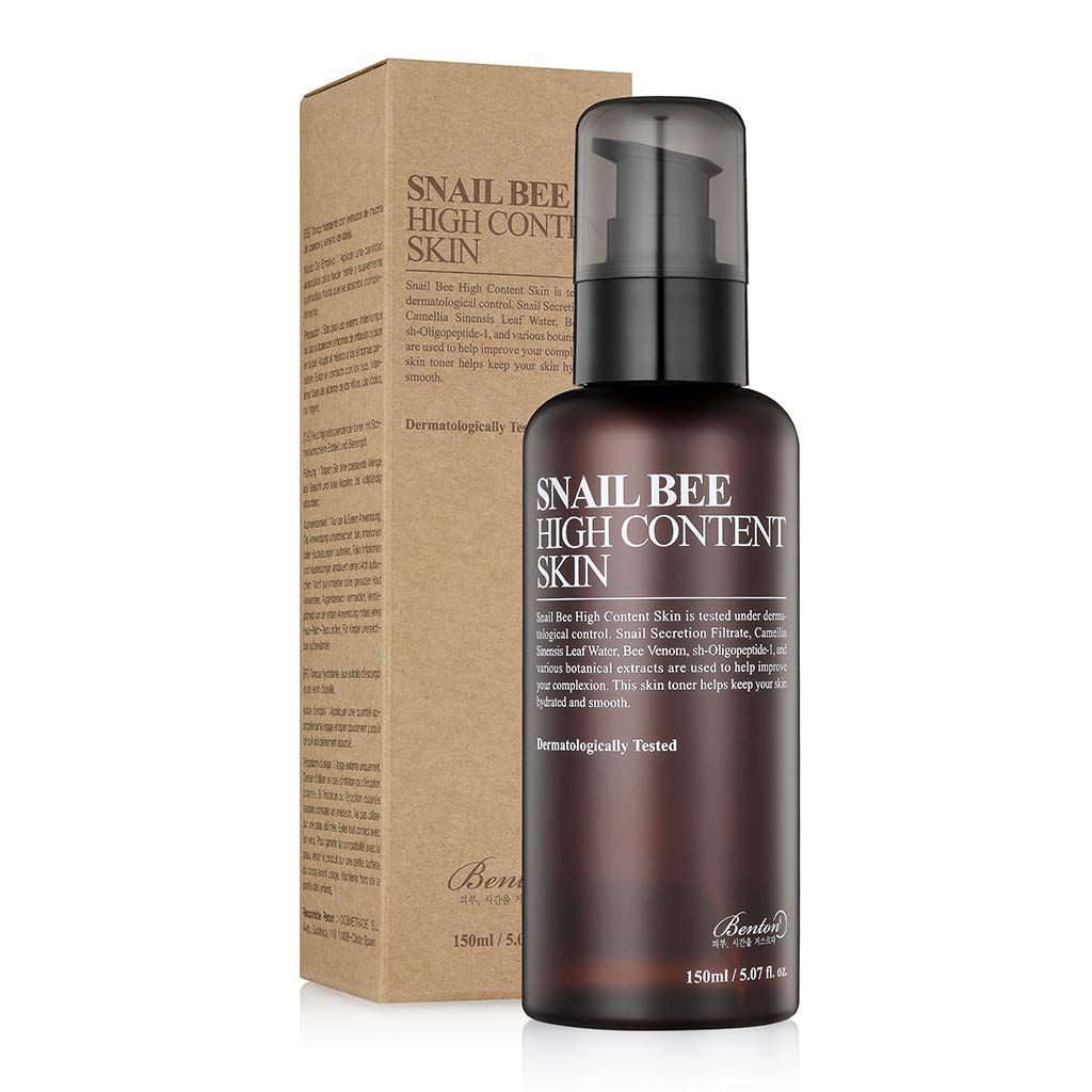 Benton Snail Bee High Content Skin (Toner) 150ml (5.07 fl. Oz.) - Tónico hidratante y calmante para grasas con filtrado de secreción de caracol y agua de té verde para grasas