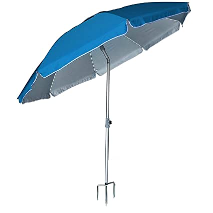 AMMSUN 2018 6.5 ft Outdoor Patio Beach Umbrella Sun Shelter with Tilt Air Vent Inclined, Heat Insulation, Antiultraviolet Function, for Patio, Garden, Fishing, Sports, Outdoor, Camping, Picnic/Blue