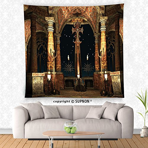 VROSELV custom tapestry Gothic Tapestry Dark Mystic Ancient Hall with Pillars and Cross Dome Shrine Church Print Wall Hanging for Bedroom Living Room Dorm Ivory Brown (Cowboy Dome Lunch Box)